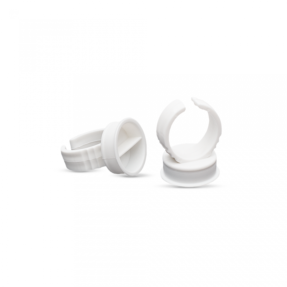 Wholesale Plastic White Tattoo Ink Ring Medium Size | Oxisecret